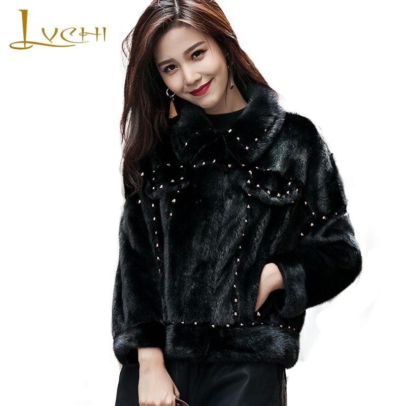 LVCHI Winter New 2018 Imported Mink Coat Women's Natural Fur Coat Mink Coat Slim O-Neck Beading Cool Lady Short Mink Fur Coats