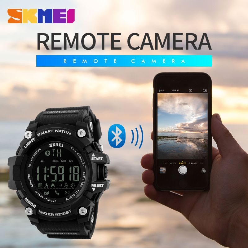 SKMEI Brand Men Digital Wristwatches Smart Watch Big Dial Fashion Outdoor Sports Watches EL Backlight Waterproof Man Clock 1227