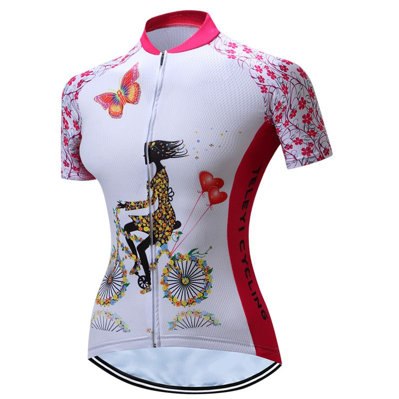 Teleyi Red Women Cycling Jersey Summer Mountain Bike Jersey Breathable MTB Bicycle Clothing Quick Dry Team <font><b>Road</b></font> Cycling Shirt