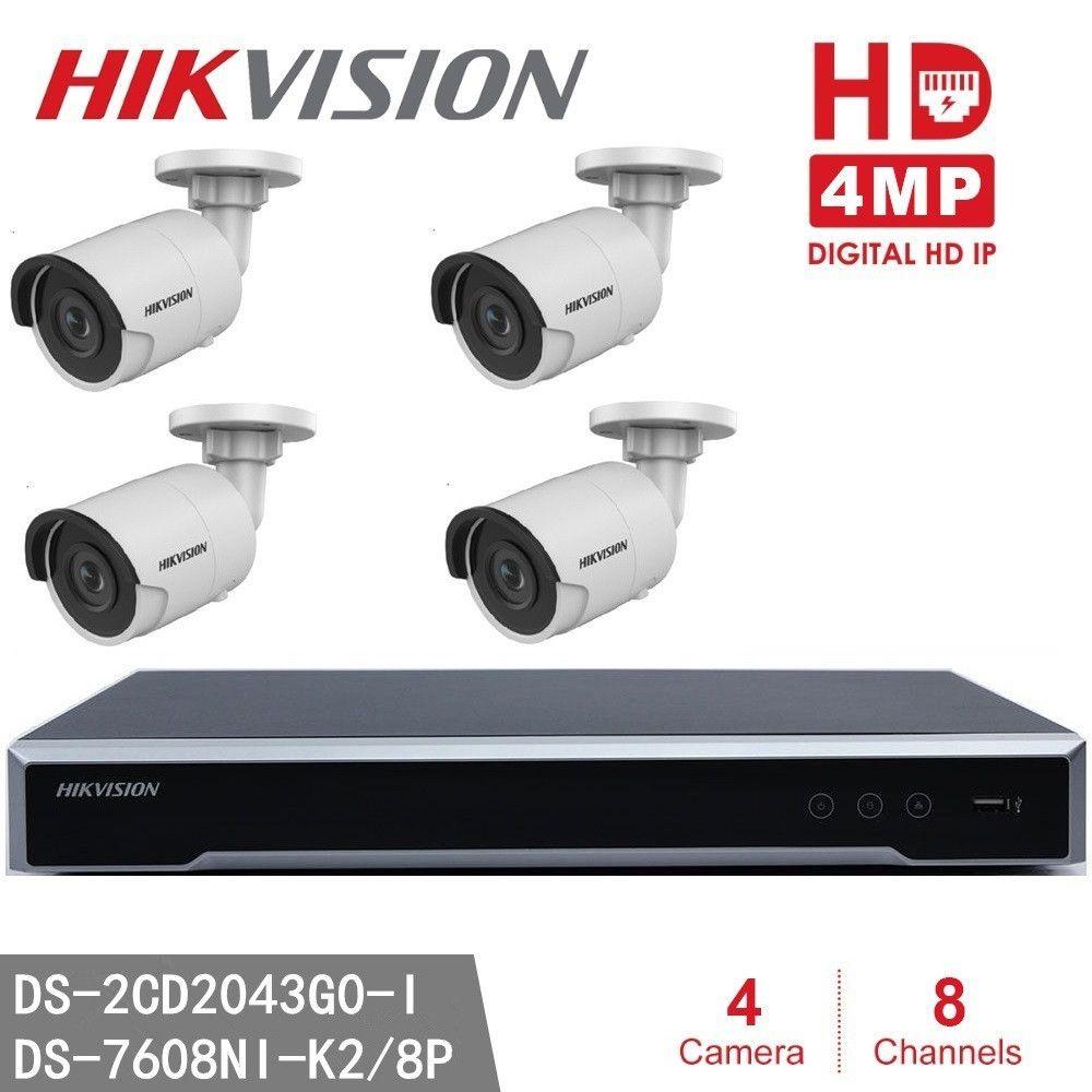 Hikvision NVR DS-7608NI-K2/8 P 8CH 8 POE + 4 stücke Hikvision DS-2CD2043G0-I 4MP Hohe Resoultion WDR POE IR IP-Kugel Kamera