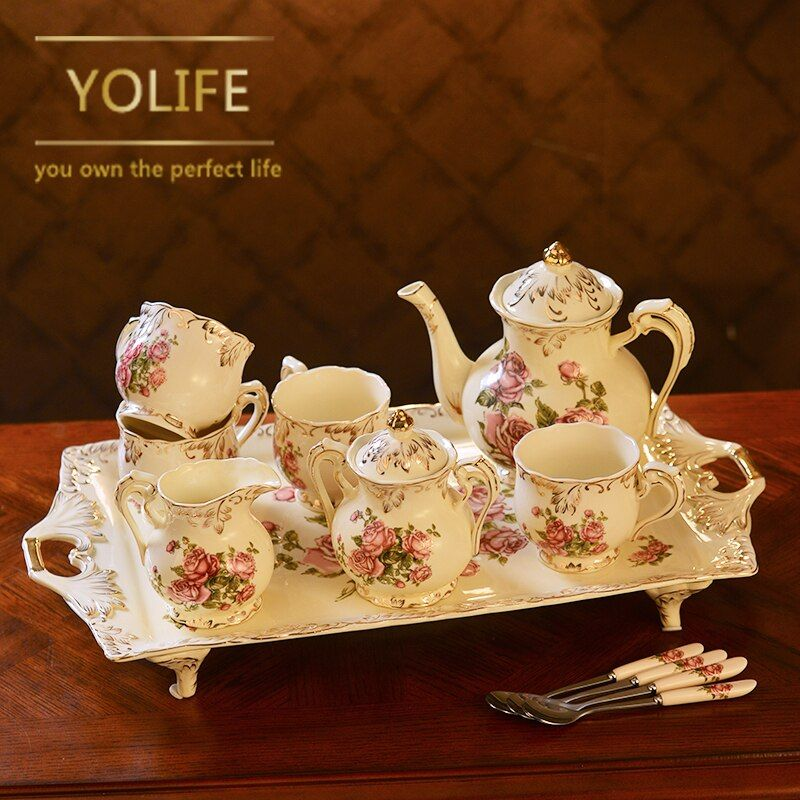Classic Porcelain Tea Service with Tea Cup Tray Teapot Pot Kettle For Wedding Gifts