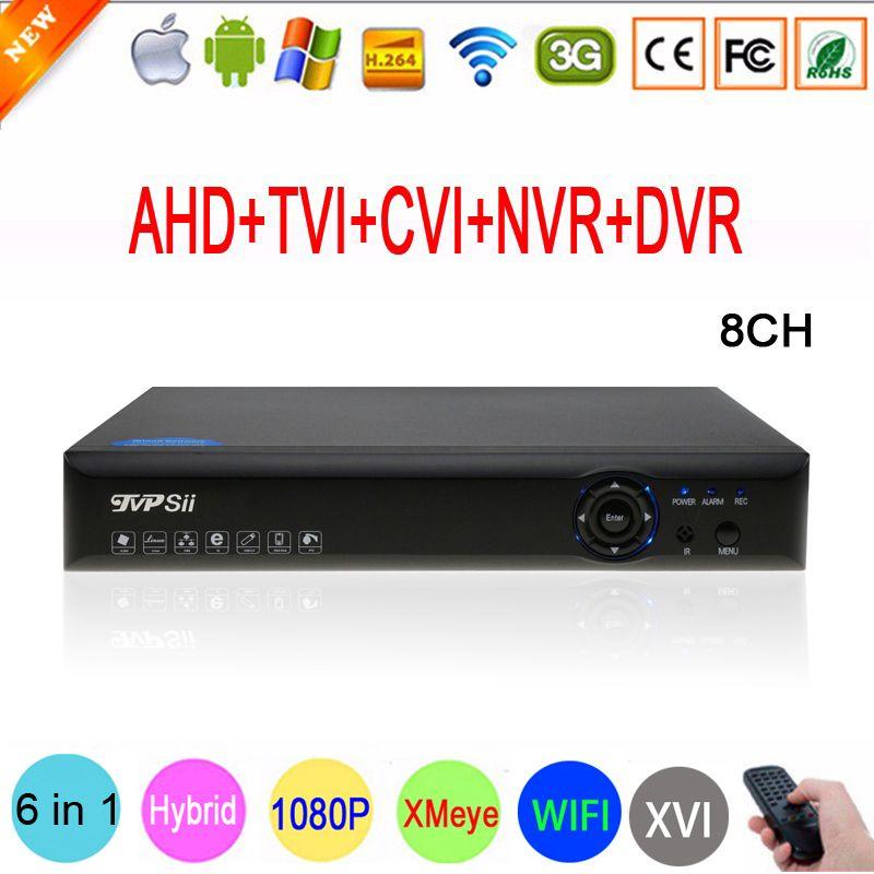 Bleu-ray Xmeye Hi3520D 1080 p Caméra de Surveillance 1080N 8 Canal 8CH 5 dans 1 Hybride Coaxial TVI CVI IP NVR AHD DVR Livraison Gratuite