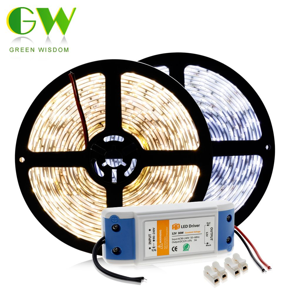 LED Strip 5630 Waterproof / No Waterproof Flexible Light 5M 300LEDs Warm White/White/Cold White + DC12V LED Power Driver