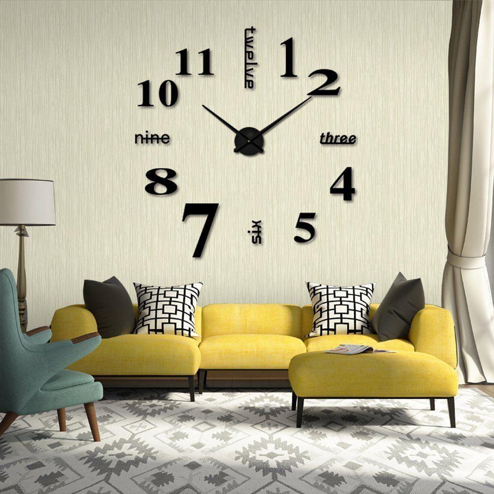 2019 3D miroir acrylique bricolage moderne horloge murale Surface autocollant bureau décor à la maison