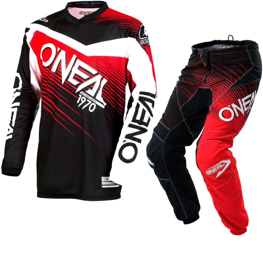 2018 NEW Oneal MX Element Black Red Jersey Pant Dirt Bike Biking Racing Motocross Jerseys Set