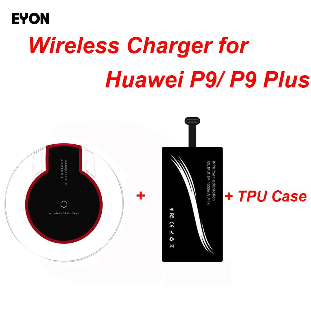 EYON Universal Type-C Qi Wireless Charging Receiver +Charger Pad Transmitter + Ultra-thin SOft TPU Case for Huawei P9 P9 Plus