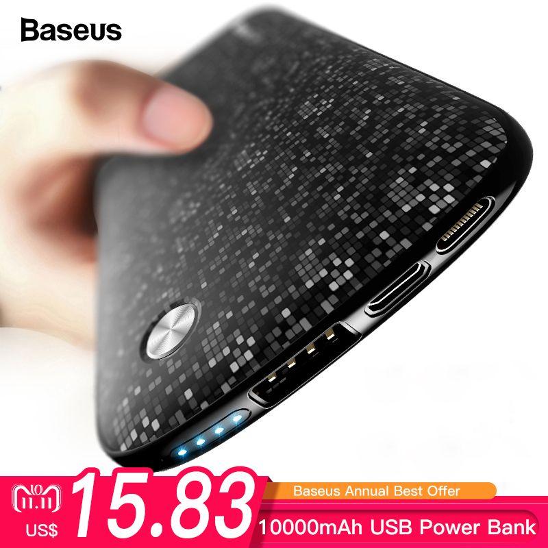 Baseus 10000mAh USB Power Bank 15mm Ultra Slim Powerbank Portable External Battery Charger For iPhone Mobile Phone Poverbank