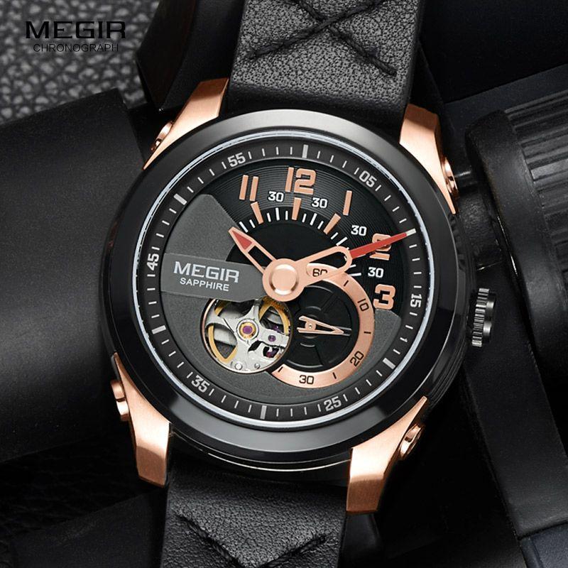 MEGIR Men's Fashion Black Leather Strap Mechanical Watches Fashion Rose Gold Waterproof Analogue Wristwatch for Man ML62050