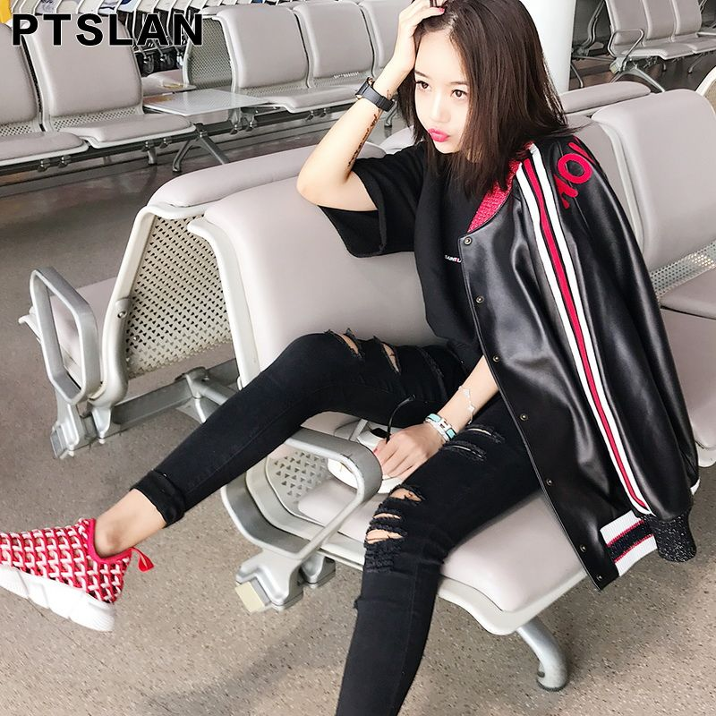 Ptslan Famous 2017 Hot Sale Spring Autumn Fashion Brand Women Real Leather Jacket Zipper Motorcycle Short Genuine Jackets P2732