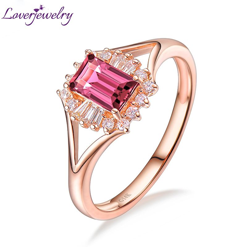 Wedding Natural Emerad Cut Pink Tourmaline Ring Real 14K Rose Gold Natural Diamond Women Party Fine Jewelry Thanksgiving Gift