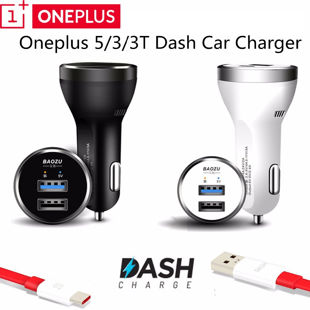Dash Car Charger Original, 5V/4A Dual usb Quick Fast Car Charging Adapter & Genuine usb type-C cable For Oneplus 3 3t 5 5t