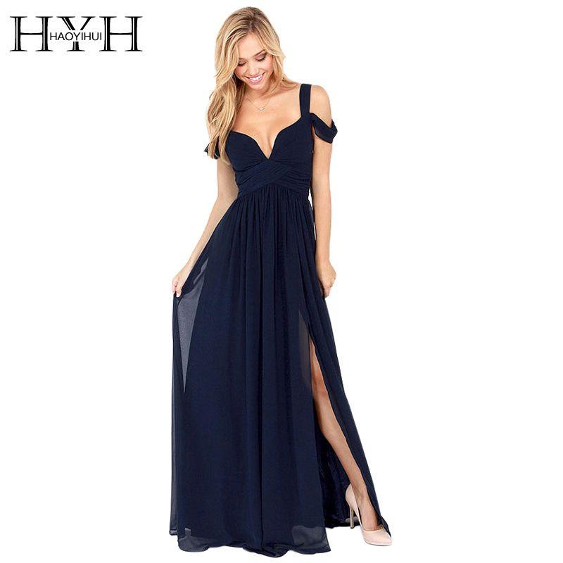 HAOYIHUI Brand New Summer <font><b>Floor</b></font> Length Solid Dinner Sexy long Dress elegant Side Slit V Neck Strap Female Gown Dresses