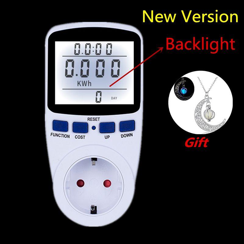 Digital Energy Meter Wattmeter with Backlight Electronic Power Meter Record <font><b>Volt</b></font> Voltage Outlet Socket Meter Energy Analyzer