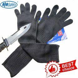 Nmsafety Panjang Cut Tahan dengan Sarung Tangan dengan Stainless Kawat Baja Pelindung Sarung Tangan Safety