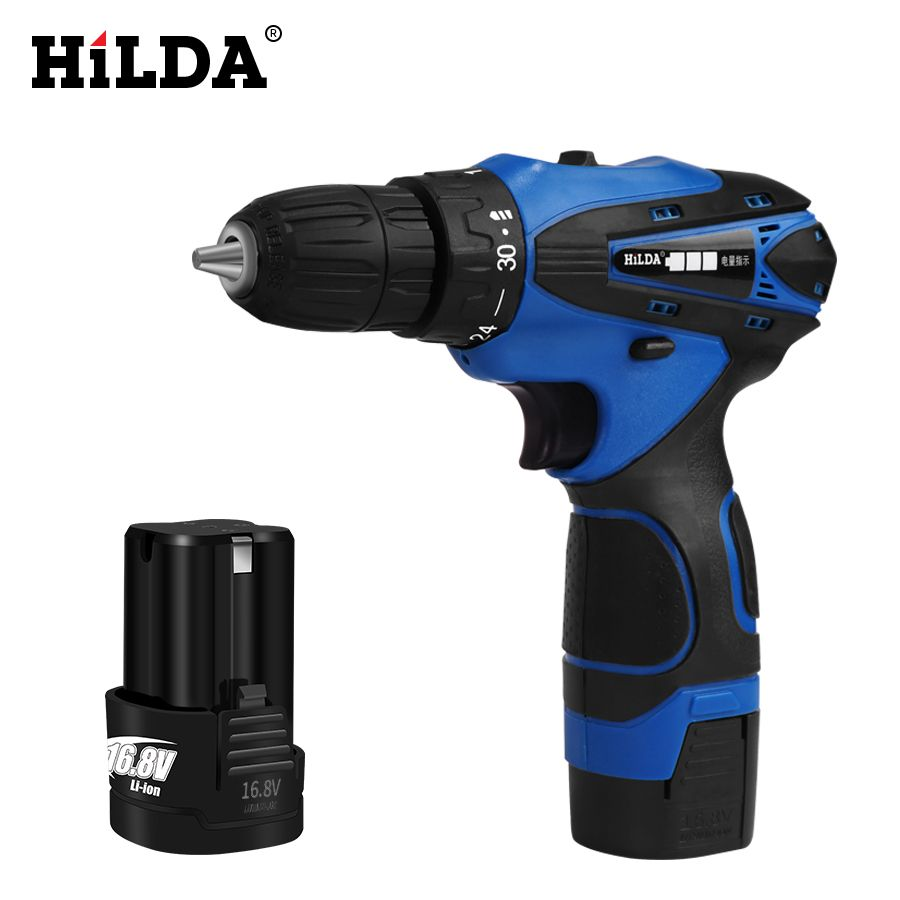 HILDA 16.8 V tournevis sans fil perceuse électrique deux vitesses Rechargeable 2 pièces batterie au Lithium étanche lumière LED à main