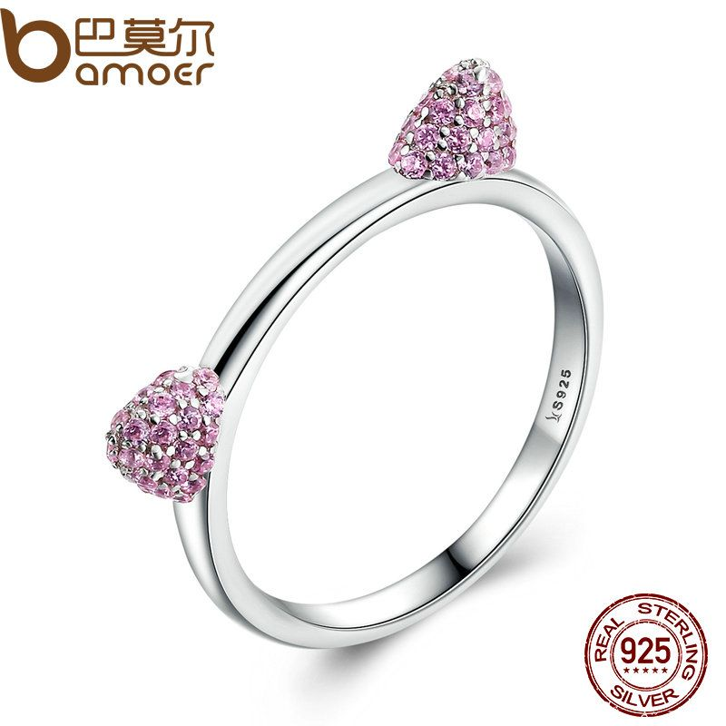 BAMOER Authentic Real 100% 925 Sterling Silver Cute Cat Ears Pussy Ears,Pink CZ Ring for Women Wedding Jewelry SCR036
