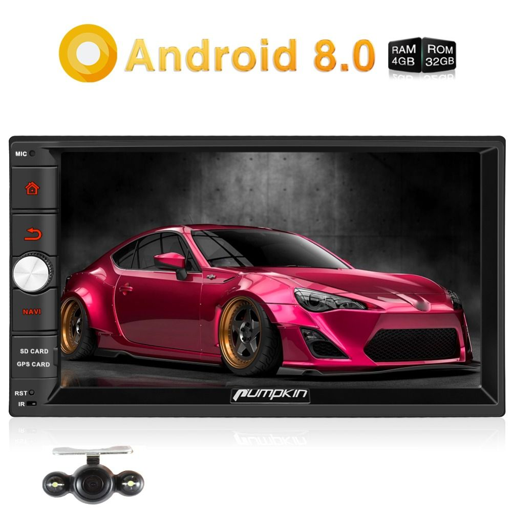 Pumpkin Android 8.0 Universal Car Radio 2 Din 7'' Car Stereo GPS Navigation Qcta-Core 4GB RAM Wifi 4G Video Audio Player NO DVD