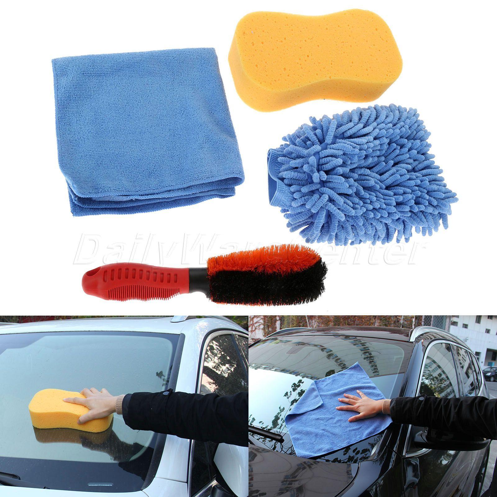 Car Cleaing Tool Kit 1* <font><b>Tire</b></font> Brush, 1* Microfiber Towel, 1* Tyre Brush Sponge, 1* Car Wash Glove For Wash Car Detailing Polish