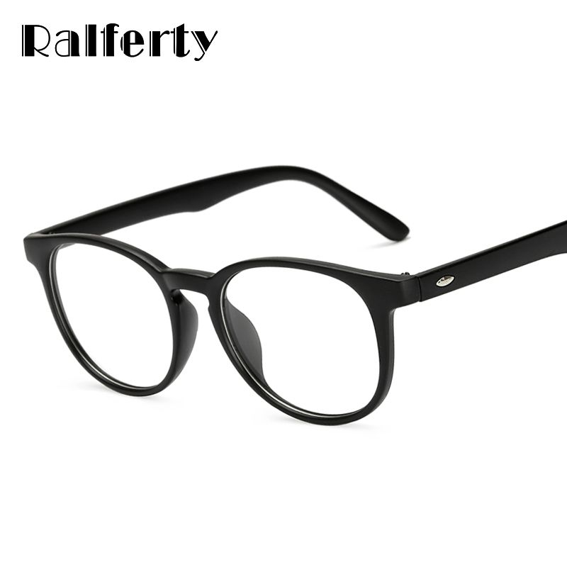 Ralferty Unisex Vintage Round Eye Glasses With Clear Lens, Women Men Plain Mirror Prescription Myopia Optic Frame Eyeglasses