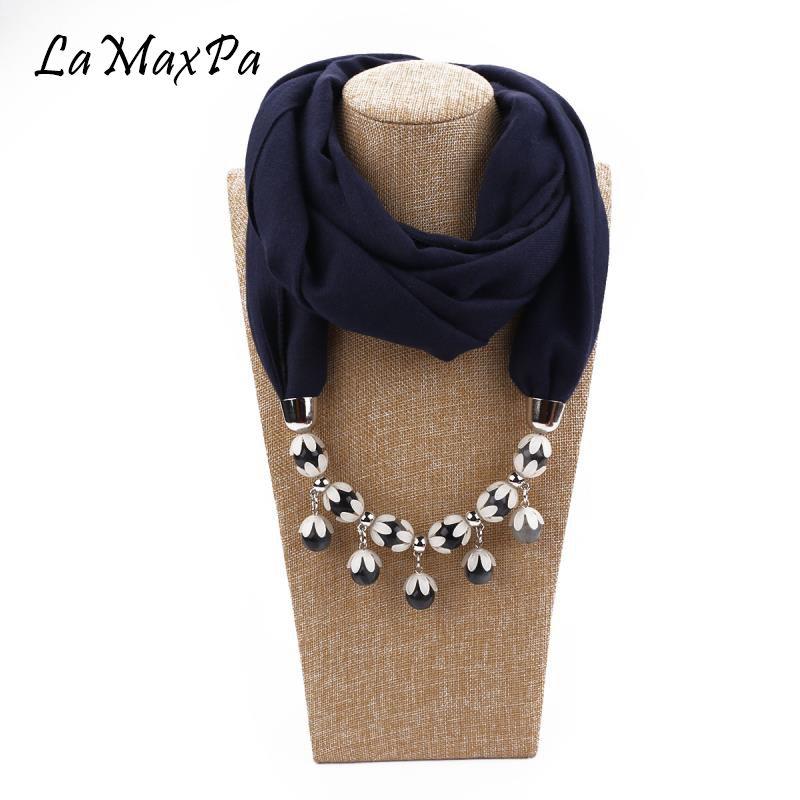 LaMaxPa New Fashion Women Pendant Scarf Femme Pop Jewelry Echarpe Girls Soft Pendant Scarves Mujer Elegante Colgante Bufanda