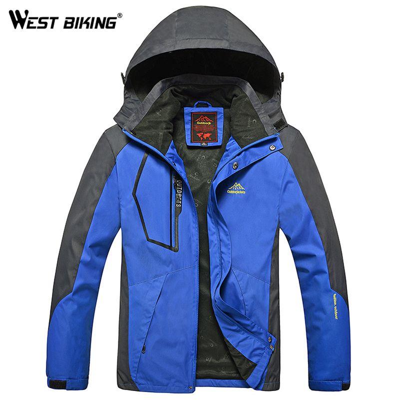 WEST BIKING Men Winter Waterproof Windproof Hooded Jacket Outdoor Sport Warm Large Size Hiking Cycling Mountain Climbing Jacket