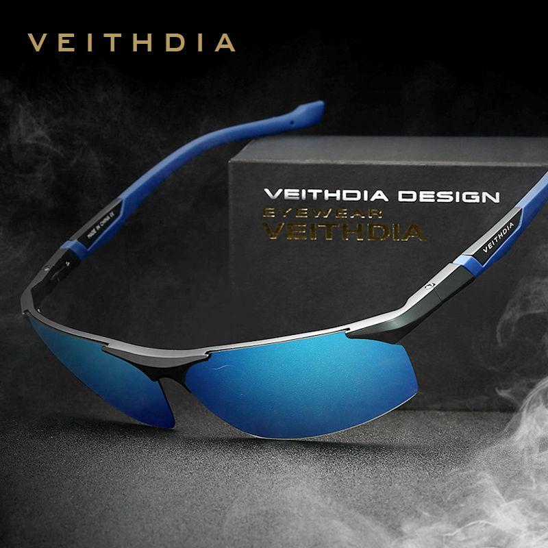 VEITHDIA aluminium magnésium hommes lunettes de soleil polarisées bleu revêtement miroir lunettes de soleil oculos mâle accessoires lunettes hommes 6589