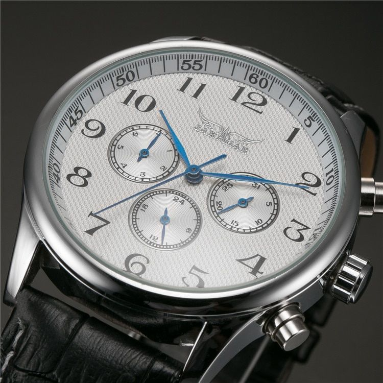 Horloges Mannen JARAGAR Classic White Dial Blue Hands Mens Auto Mechanical Wristwatch Day Date 24hrs Wrist Watch Male Relogio