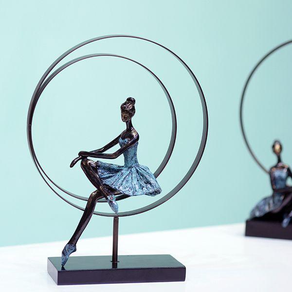 Abstract Ballet Girl Sculpture Handmade Wrought Iron and Resin Ballerina Statuette Decoration Souvenir Gift Ornament Craftworks