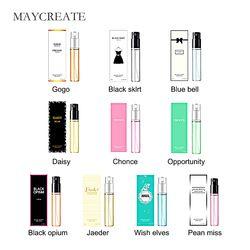 MayCreate 3 ml Parfum Femmes Atomiseur De Parfum Bouteille En Verre De Mode Lady Femme Parfum Longue Durée Fleur Parfum Parfums