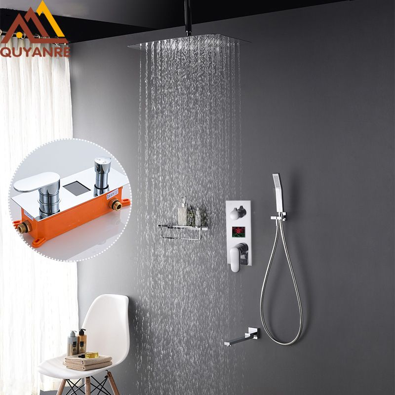 Quyanre 3-Functions Digital Display Shower Faucets Rainfall Ultrathin Shower Head In Wall Mount Mixer Tap Concealed Bath Shower