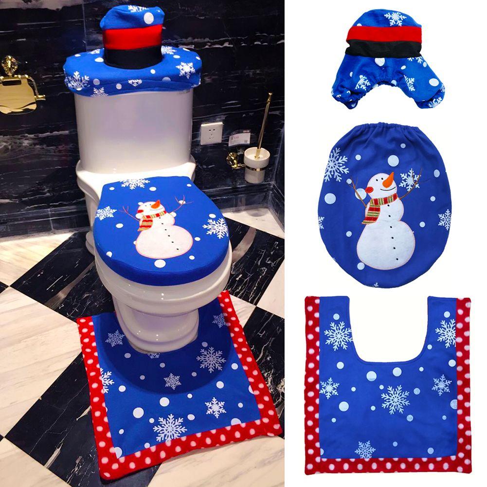 3 Pcs/ensemble De Noël Bonhomme De Neige Siège de Toilette Tapis de Tapis De Bain Ensemble De Noël De Noël Décoration pour La Maison Salle De Bains Tapis Tapis