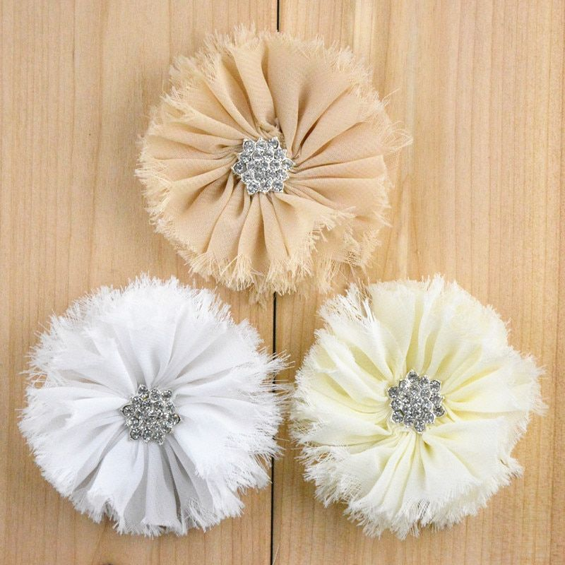 120pcs/lot 16colors Artificial Frayed Chiffon Flower With Snow Rhinestone Button Fluffy Fabric Flowers For Baby Headbands