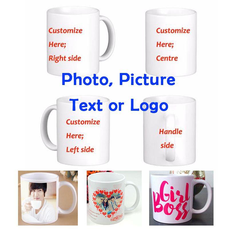 Bricolage Photo tasse à café impression Photo personnalisée 11 OZ blanc en céramique voyage tasses à café texte personnalisé tasses drôles tasse à thé cadeau tasse