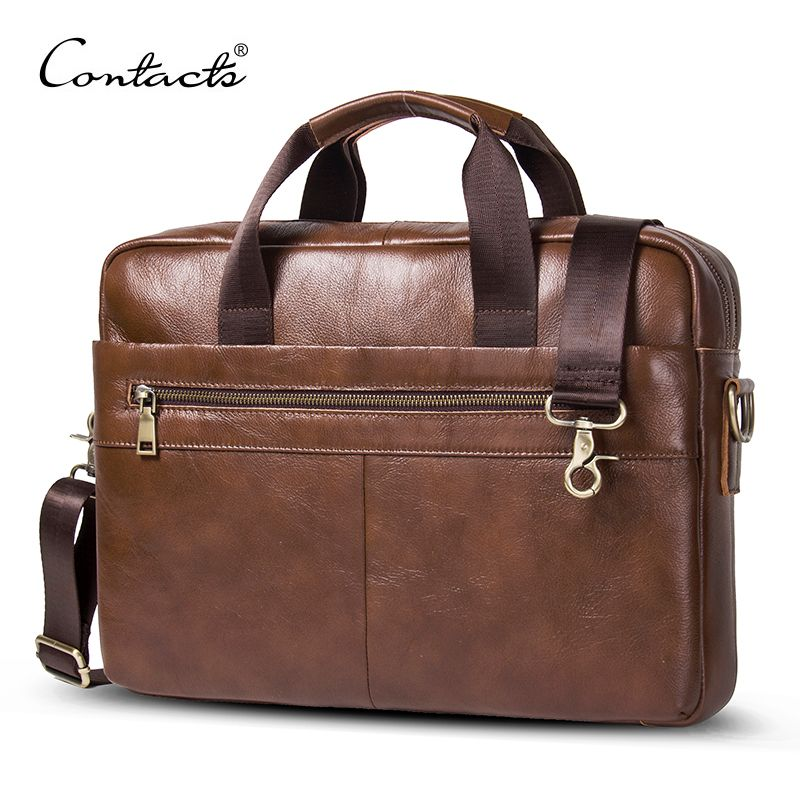 CONTACT'S 2018 Business Genuine Leather Men Briefcase Cowhide Men's Messenger Bags 14