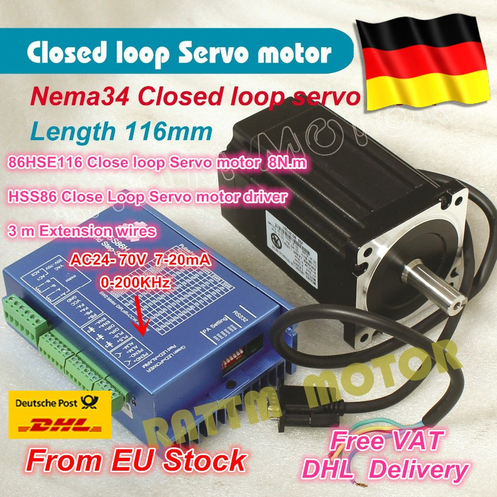 DE Free VAT Nema34 L-116mm Closed Loop Servo Motor 6A Closed Loop 8N.m & HSS86 8A Hybrid Step-servo Driver CNC Controller Kit