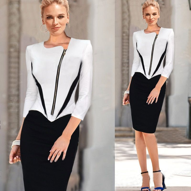 2018 Ladies Elegant Long Sleeve Black and White Dress Pencil Women Formal Dresses Suit for Work Party Tunic Office Bodycon