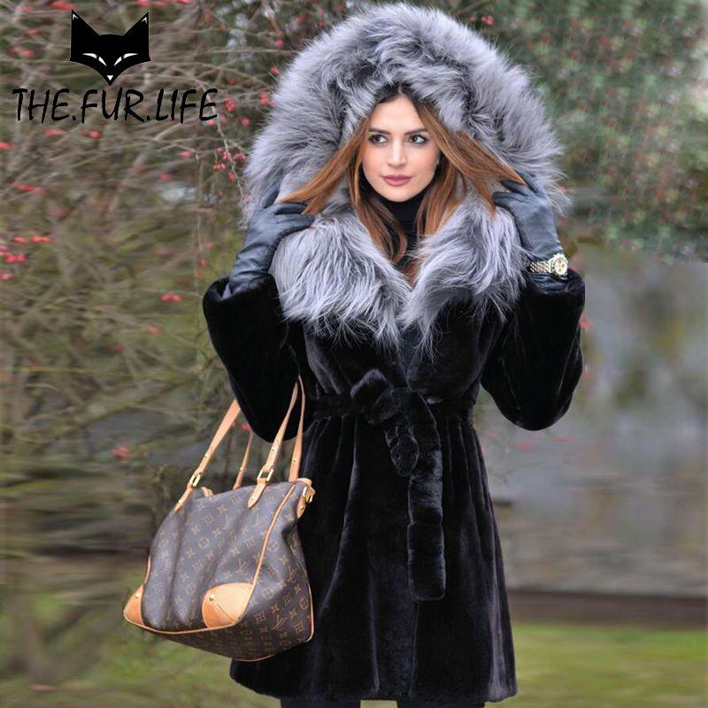 Schlank Winter Tops Echten Pelz Von Natur Rex Kaninchen Pelz Mantel Mäntel Mit Silber Fuchs Haube Übergroßen Rot Fuchs Jacke für Frauen 2018