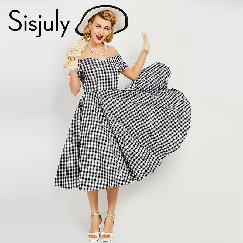 Sisjuly vintage dress women pin up <font><b>black</b></font> plaid elegant dresses luxury summer short sleeve a-line female sexy vintage dresses new