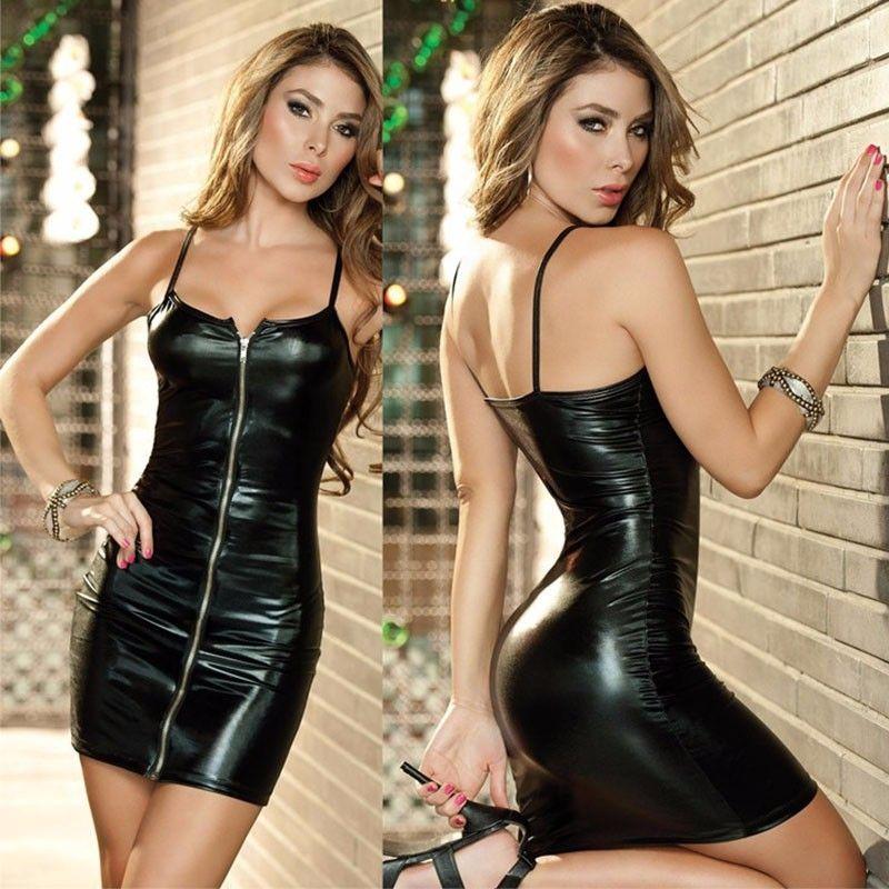 Body Latex femme robe de discothèque Sexy Imitation cuir métal fermeture éclair Cool serré noir bleu bretelles Club robe vêtements