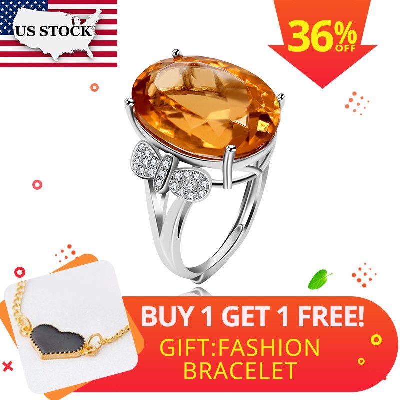 UNS LAGER Getestet Citrin Ring für Frauen, 925 Sterling Silber Hochzeit Schmuck, 12*16mm Edelstein mit Samt Box Zertifikat FJ238