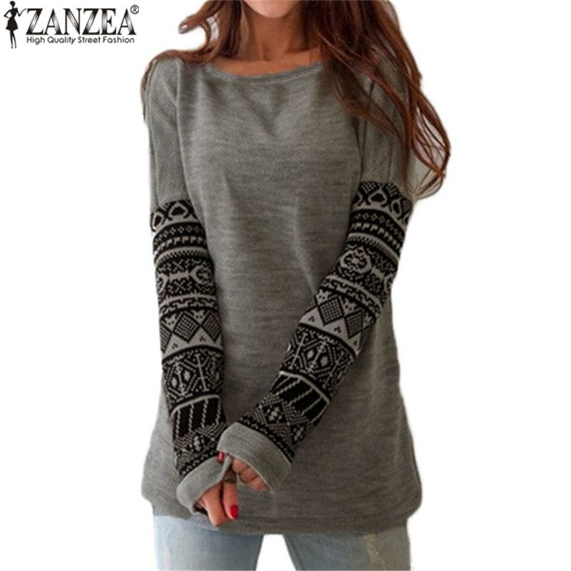 Zanzea New Autumn Women Tee Shirt O Neck Contrast Color Printed Long Sleeve T-Shirts Female Casual Loose Blusas Plus Size S-5XL