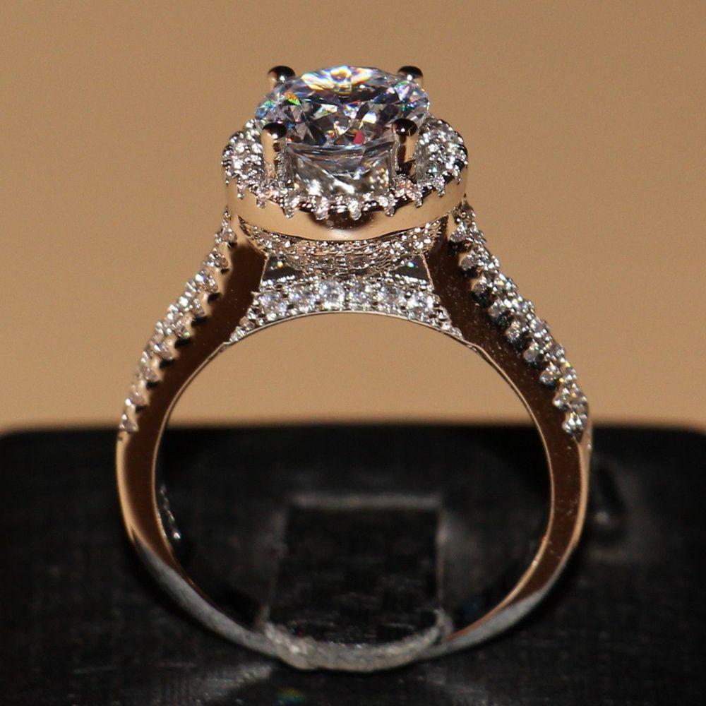 Size5-11 круглой огранки Роскошные 7 мм AAA CZ 925 Серебро Заполненный Diamonique имитации камней Обручение Для женщин обручальное кольцо подарок