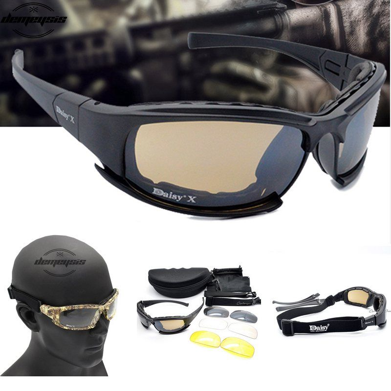 Army <font><b>Goggles</b></font> Sunglasses Men Military Sun glasses Male 4 Lens Kit For Men's War Game Tactical Glasses Outdoor
