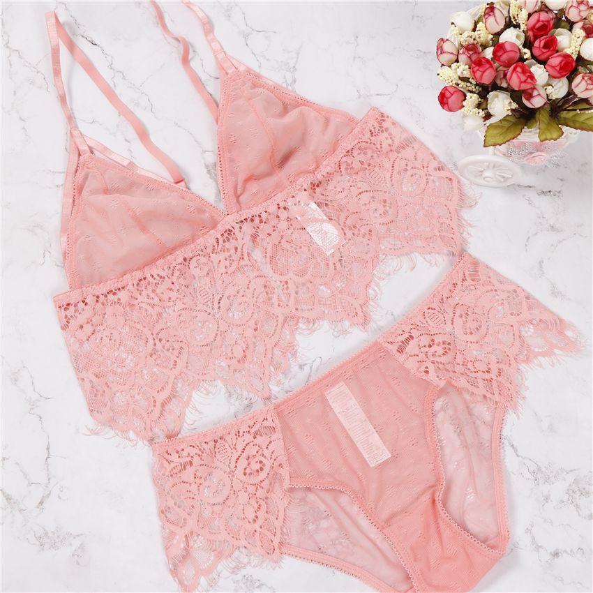 2018 sexy transparent lace pink winered white black underwear elegant women open cup bra set S M L XL XXL