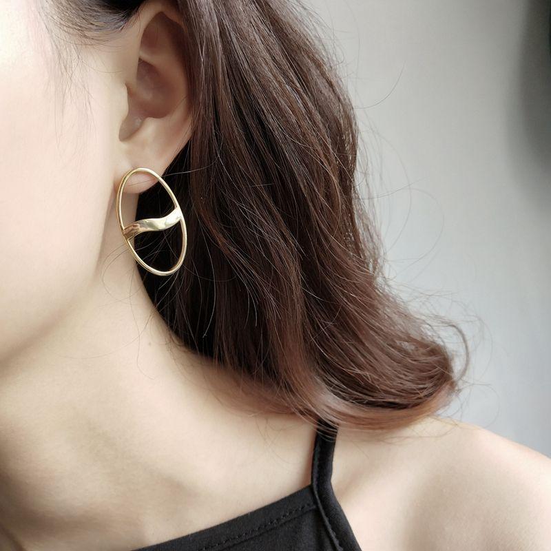 LouLeur 925 sterling silver oval wave stud earrings gold fashion elegant design Geometric earrings for women party jewelry gift