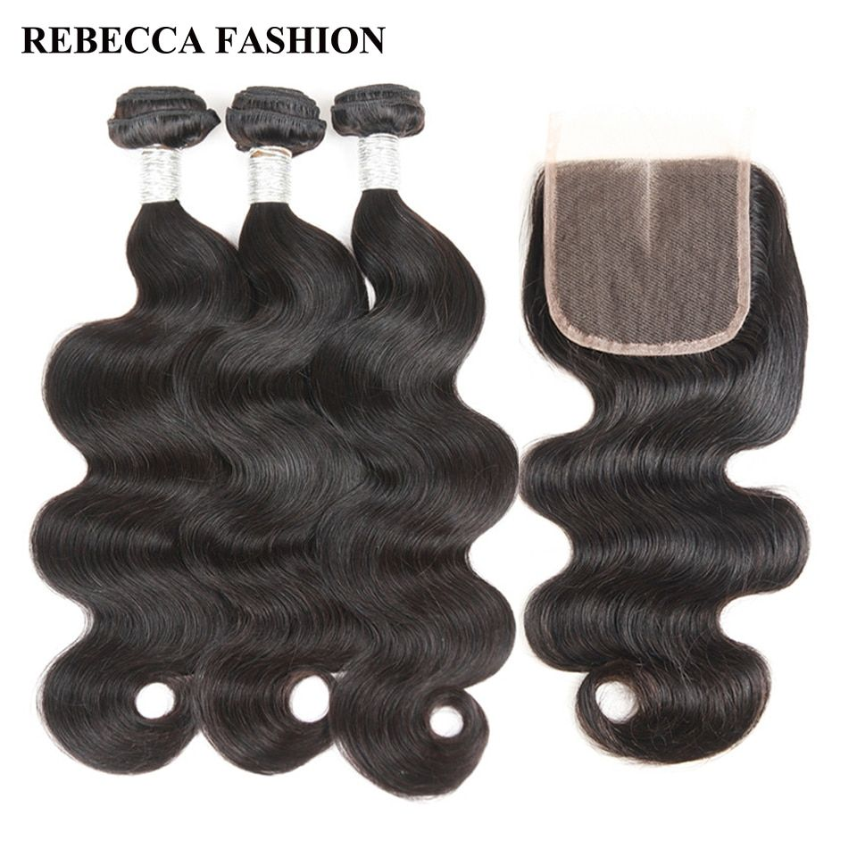 Rebecca Brazilian Body Wave 3 Bundles With Closure Remy Human Hair Bundles 4x4 Lace Closure For Salon One Pack Free Shipping