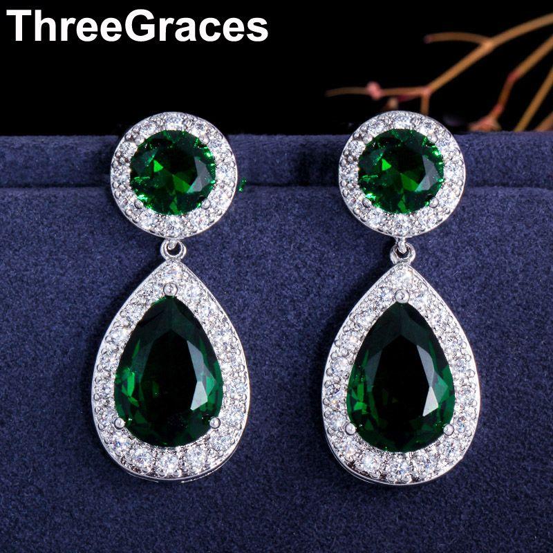 Boucles d'oreilles longues en forme de goutte d'eau en pierre zircon cubique vert couleur argent pour femmes ER017