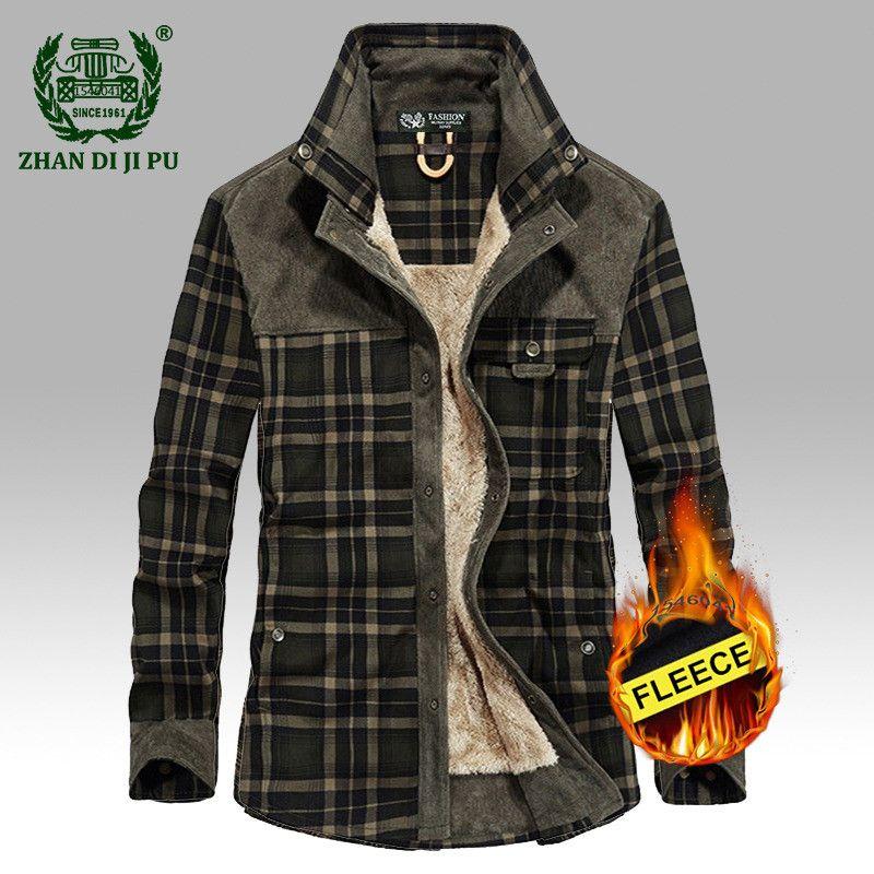 2019 männer winter warm dicken hohe qualität fleece casual marke 100% baumwolle plaid shirt mann afs jeep armee grid langarm shirts