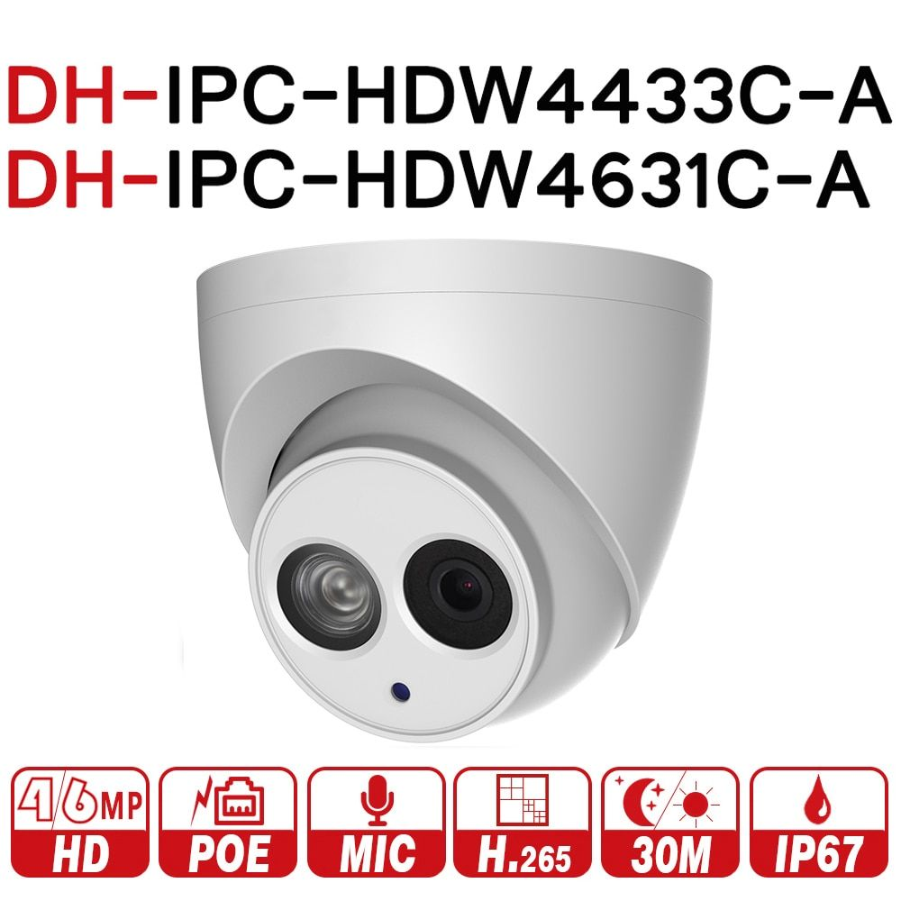 DH IPC-HDW4433C-A IPC-HDW4631C-A 4MP 6MP Network IP Camera POE Built-in MIC 30M IR Night Vision WDR Onvifo with logo dahua oem