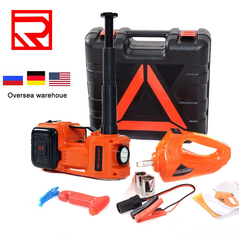 auto tire change tool car floor jack electric hydraulic jack with impact wrench and air compressor with tire gauge
